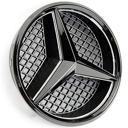 Auto Accessories Led - IHEX Auto Xenon White LED Emblem for Mercedes Benz 2011-2018 Black Edition, Front Car Grille Badge, Illuminated Logo Hood Star DRL, Drive Brighter(Matte Black)