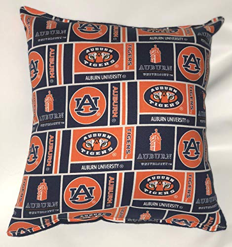 Auburn University Tigers Pillow 10 inches by 11 inches Handmade Hypoallergenic Cotton with Flannel -