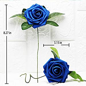 Artificial Flowers Real Touch Fake Latex Rose Flowers Home Decorations DIY for Bridal Wedding Bouquet Birthday Party Garden Floral Decor - 25 PCs 10