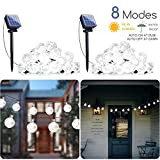 2-Pack Solar String Lights, 20FT 30 LED Crystal Globe Lights with 8 Light Modes, Waterproof Solar Powered Fairy Lights for Outdoor Garden Patio Backyard Xmas Holiday Party Decor, Pure White