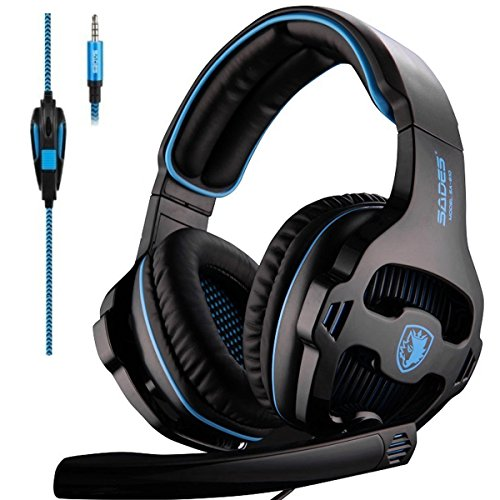 Sades Over-Ear Stereo Bass Gaming Headphone with Noise Isolation Microphone for Xbox One PC PS4 Laptop Phone