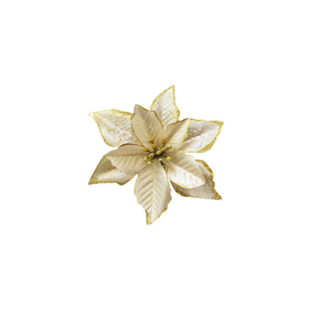 NOVELTY-GIFTS1-Christmas-Glitter-Poinsettia-Christmas-Tree-Ornaments-Pack-of-12