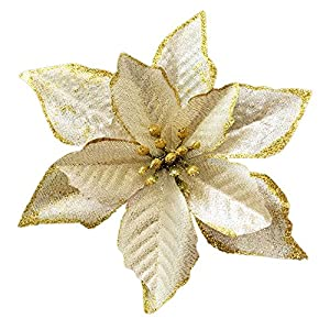 NOVELTY GIFTS1 Christmas Glitter Poinsettia Christmas Tree Ornaments Pack of 12 4