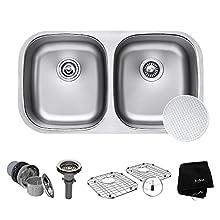 "Kraus Outlast MicroShield Scratch-Resist Stainless Steel Undermount 50/50 Double Bowl Sink, 32"" 16 Gauge, Premier Series KBU22E"