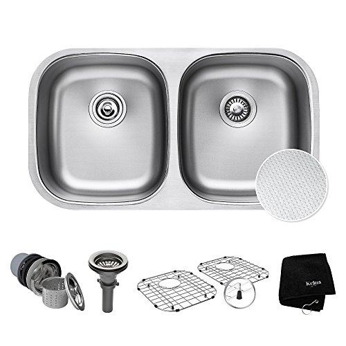 Kraus Outlast MicroShield Scratch-Resist Stainless Steel Undermount 50/50 Double Bowl Sink, 32
