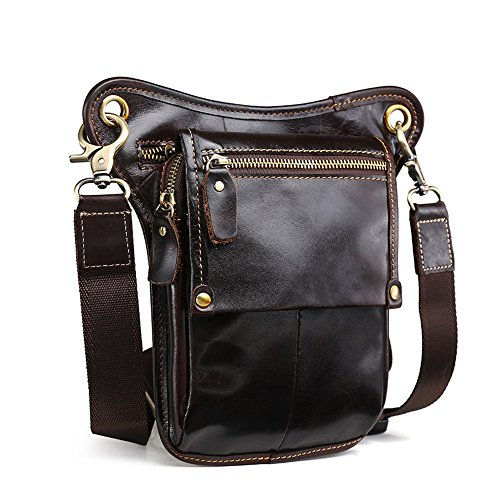 Motorcycle Waist Pack Leg Bag Rig Bike Cycling Hiking Thigh Bag Messenger Shoulder Bag (Brown-1) ()