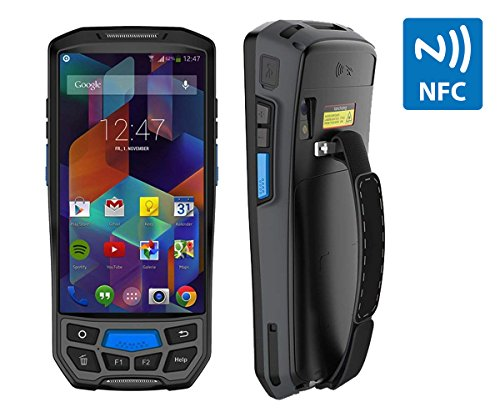 Android 7.0 Rugged Handheld POS Terminal with NFC 13.56MHz, Honeywell 1D Laser Barcode Scanner with Touch Screen Data Collector Support Bluetooth WiFi GPS 4G for Shipping, Warehouse Management ()