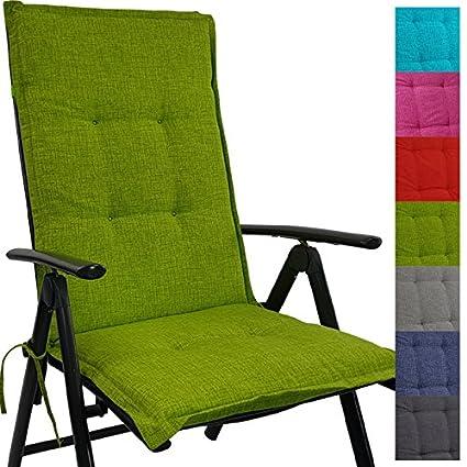 Cojín respaldo para sillas de jardín Tino 118 x 50 x 5,5 cm repelente al agua ya la suciedad - Cómodos cojines con respaldo acolchados y cinta ...