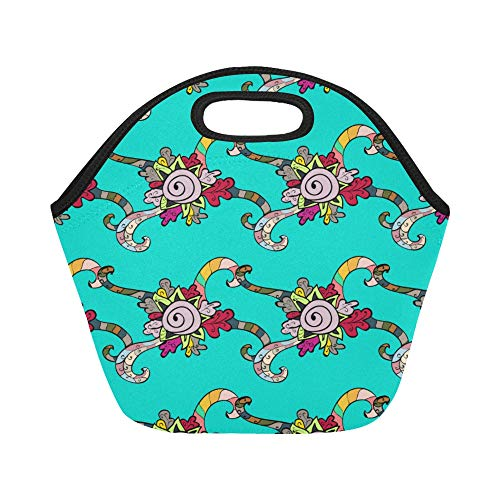 Insulated Neoprene Lunch Bag Mandala On Blue Round Large Size Reusable Thermal Thick Lunch Tote Bags Lunch Boxes For Outdoor Work Office School