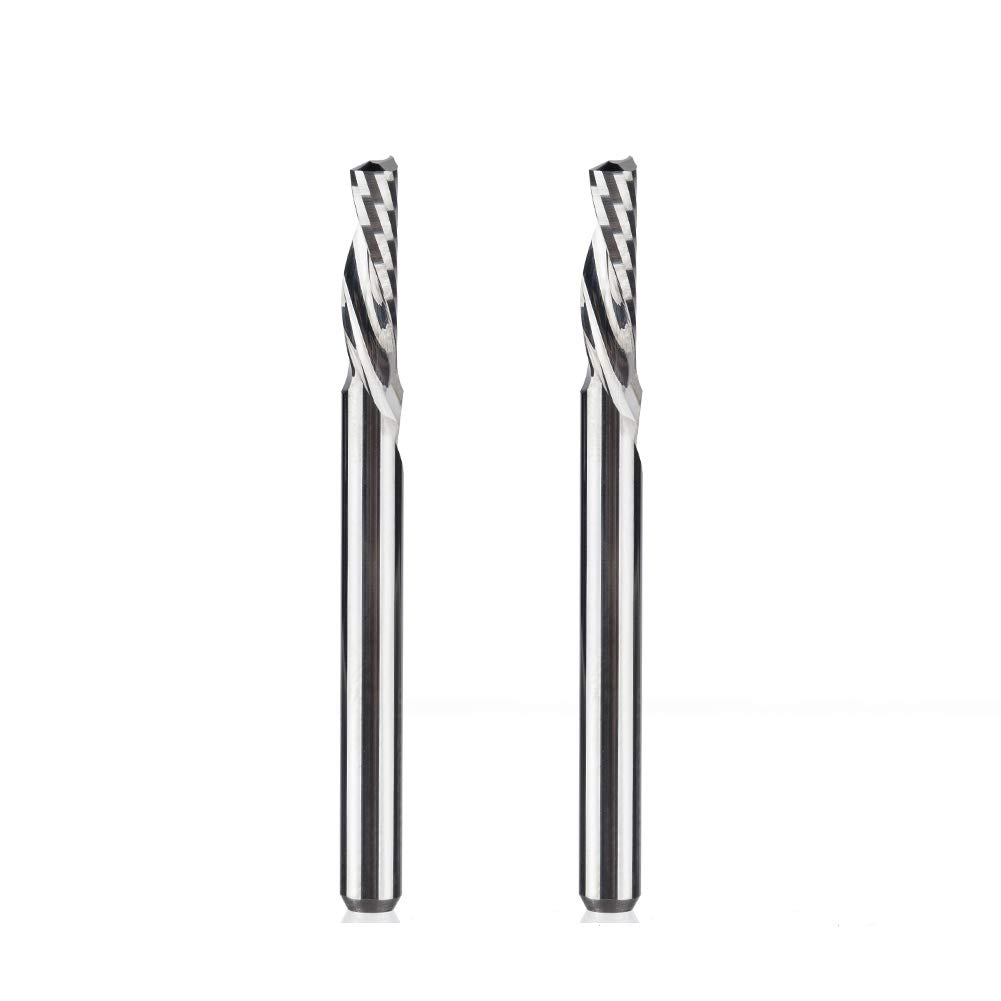 HUHAO Single Flute Spiral Down Cut Router Bit 1//8 Shank Tungsten Steel End Mill for Aluminum Plastic 2pcs