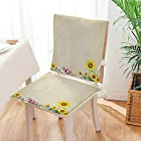 Antique Wooden Fold Up Chairs Mikihome Premium Chair Cushion Antique Old Planks American Style Western Rustic Wooden and Sunflower, Flower, Grass 2 Piece Set Comfort Memory cushionsd Mat:W17 x H17/Backrest:W17 x H36
