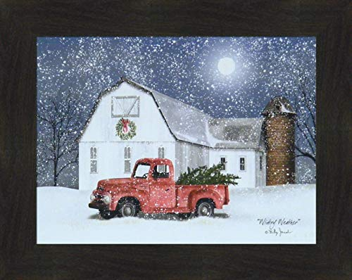 ntry Weather by Billy Jacobs 16x20 Farm Barn Old Truck Christmas Trees Wreath Silo Full Moon Winter Seasons Framed Folk Art Print Picture ()