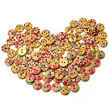 ReFaXi® 100pcs Mixed color Round 2 hole flower pattern Wooden Buttons scrapbook sewing Embellishment Craft