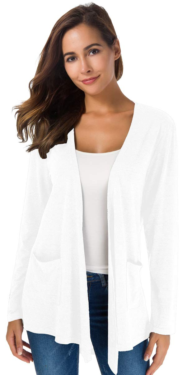 NB Womens Open Front Long Sleeve Lightweight Casual Comfy Long Line Drape Hem Soft Modal Cardigan Sweater with Two Pockets (XL, White)