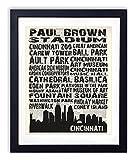 Cincinnati Landmarks Skyline and Typography Dictionary Art Print 8x10
