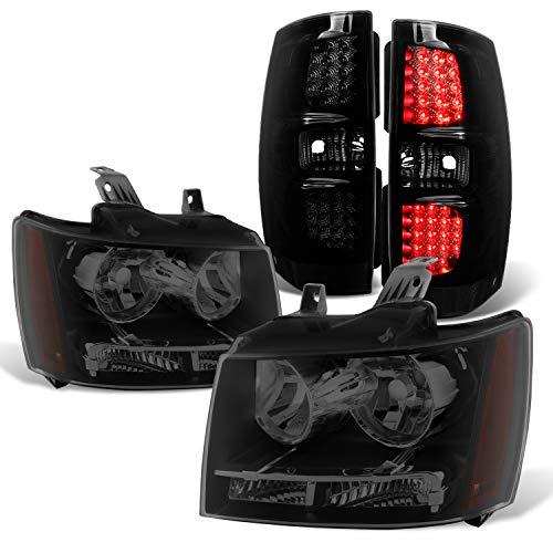 (For 07-14 Chevy Suburban Tahoe Black Smoked OE Headlights + LED Tail Brake Lamp Combo)