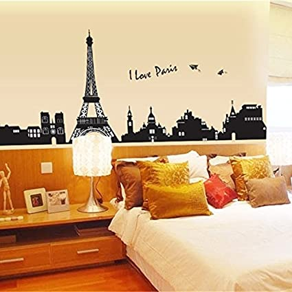 Wall Decals Paris Eiffel Tower, Home Inspira DIY Removable PVC Art ...