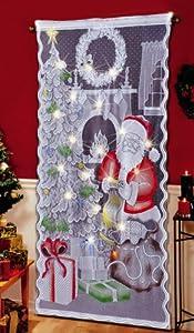 Amazon Com Lighted Santa Claus Christmas Curtain Panel