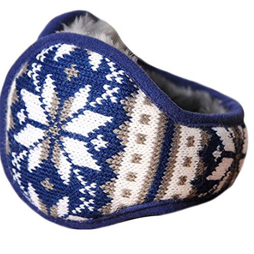 LerBen Winter Earmuff Woolen Yarn Cable Knit Wrap around Ear Muffs Ear Warmers (Blue)