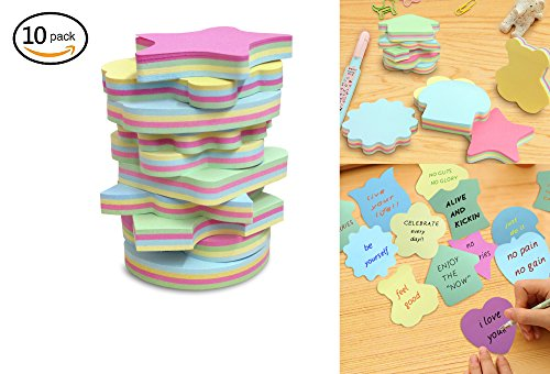 Colorful Sticky Notes In 10 Different Shapes, Bundle Pack - 10 Pads 100 Sheets Per Pads (1000 - Shapes Different Heart