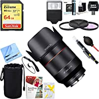 Rokinon (IO50AF-E) AF 50mm F1.4 Auto Focus Full Frame Lens for Sony E-Mount + 64GB Ultimate Filter & Flash Photography Bundle