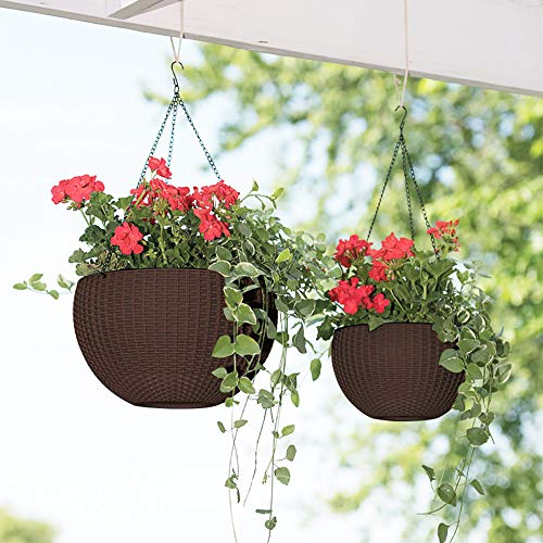 Moutik Hanging Planter Basket Outdoor Indoor Use, Self-Watering 10