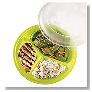 Portion Control Lunch Travel Plate Set of 3 (Assorted Colors)