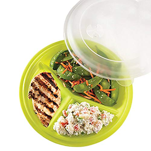 Plate Control Portion (Portion Control Lunch Travel Plate Set of 3 (Assorted Colors))