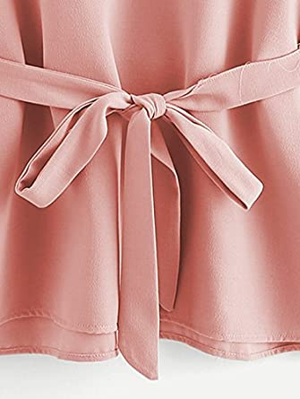 Milumia Womens V Neckline Self Tie Short Sleeve Blouse Tunic Tops
