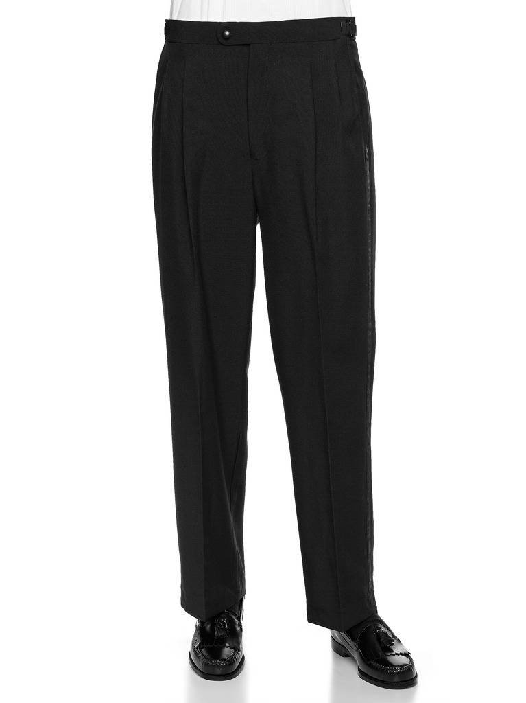 RGM Men's Tuxedo Pants Pleated Or Flat Front with Side Satin Stripe TUXEDO-$PFBA