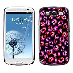 TopCaseStore / la caja del caucho duro de la cubierta de protección de la piel - Purple Black Animal Pattern Fur - Samsung Galaxy S3 I9300