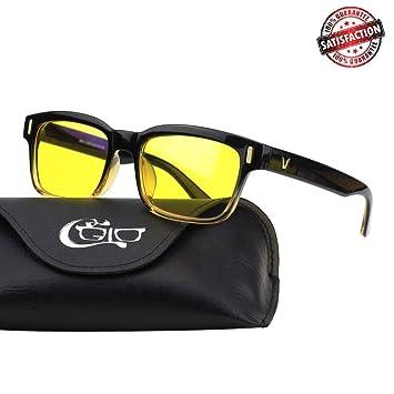 a0cb3d6f96 CGID CY84 Gafas para Protección contra Luz Azul, para Computadora, Lectura,  Video Juegos, Protección de Fatiga Visual y contra Rayos UV,Rectángulo  Vintage, ...