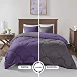 Dark Purple Comforter Sets Queen Comfort Spaces Vixie 3 Piece Comforter Set All Season Reversible Goose Down Alternative Stitched Geometrical Pattern Bedding, Full/Queen, Purple/Charcoal