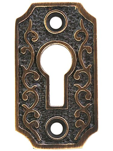 House of Antique Hardware R-06DE-1033-SKH-ABH Solid-Brass Scroll Keyhole Cover in Antique-by-Hand ()