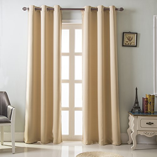 Best Dreamcity Triple Weave Microfiber Energy Saving Thermal Insulated Solid Grommet Blackout Curtains for Bedroom, 2 Panels, W42