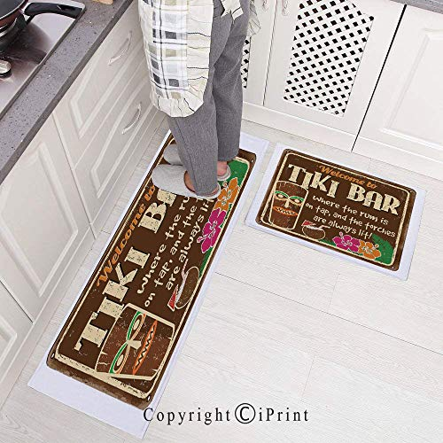 Non-Slip Rubber Backing Carpet Kitchen Mat,Aged Old Frame Sign of Tiki Bar with Inspirational Quote Leisure Travel Doormat Runner Bathroom Rug 2 Piece Sets,15.7