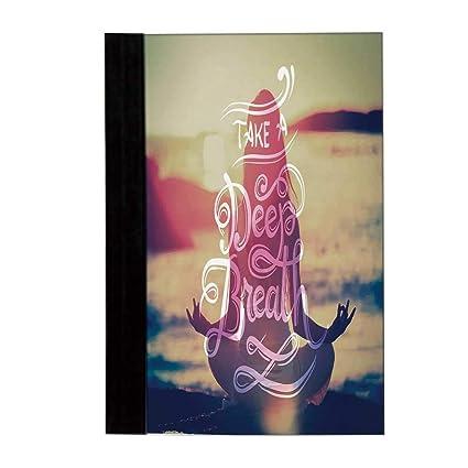 Elegante cuaderno de yoga, símbolos ornamentales, motivos ...
