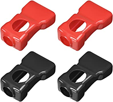 uxcell Battery Terminal Insulating Rubber Protector Covers for 18mm Cable Rectangle Shape Red Black 2 Pairs