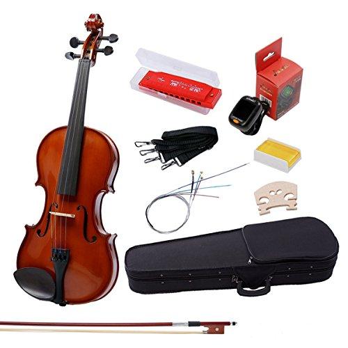 IMusic 4/4 Full Size Handmade Acoustic Violin Beginner Pack for Student, Gloss Brown