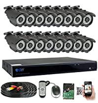 GW Security 16 Channel HD 4.0MP (2688TVL) HD 1520P Outdoor/ Indoor Security Camera System with Pre-Installed 4TB Hard Drive - High Resolution Long Distance Transmit Range (Bullet cameras)