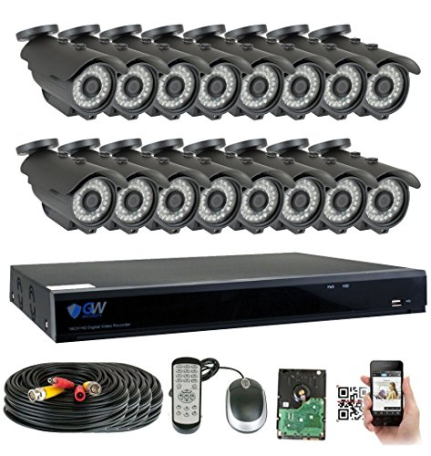 GW Security 16 Channel HD 5.0MP (2592TVL) Outdoor/ Indoor Security Camera System with 16 x 5MP HD 1920P CCTV Camera, Pre-Installed 4TB Hard Drive, High Resolution Long Transmit Range (Bullet cameras)