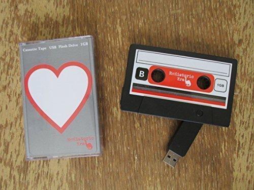 ReHistoric Era Cassette Tape USB Stick Flash Drive, 1 GB, 2.0 USB-Heart Design, Data Storage, Flash Drive, Jump Drive, Computer Data, Music Storage, Picture Storage
