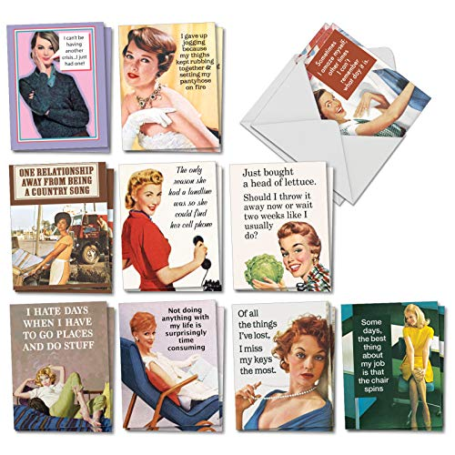 Hot Mess - 20 Vintage All Occasion Cards with Envelope (4 x 5.12 Inch) - Assorted Funny Women Greeting Card - All-Occasion Classic Stationery Card Pack (2 Each, 10 Designs) AM6622OCB-B2x10