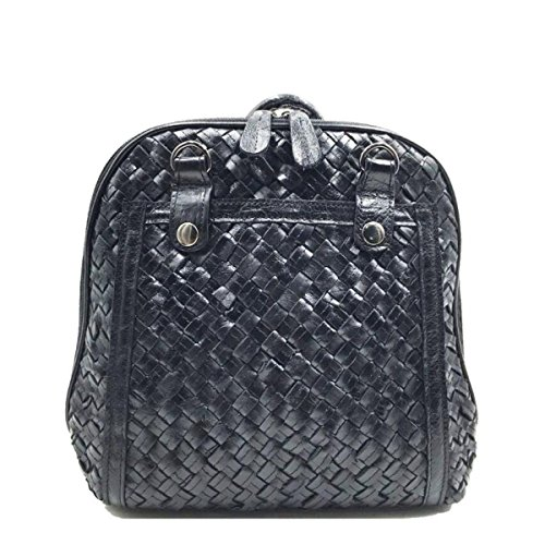 Student Color Small Black Backpack Bag Personality Stylish Shoulder Woven Leather Detachable Women's EvqXAwW