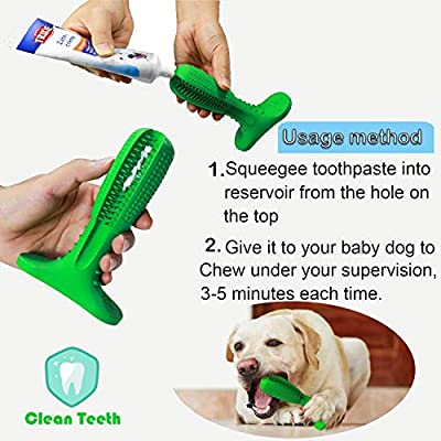 Wisedom Dog Toothbrush Stick-Puppy Dental Care Brushing Stick Effective Doggy Teeth Cleaning Massager Nontoxic Natural Rubber Bite Resistant Chew Toys for Dogs Pets