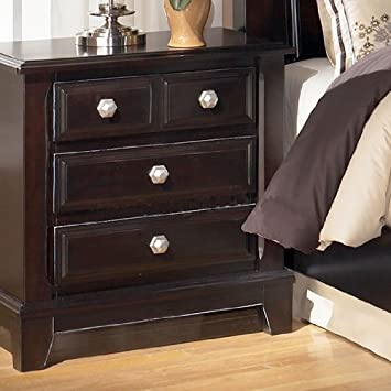 dark brown 3 drawer nightstand signature design by ashley furniture