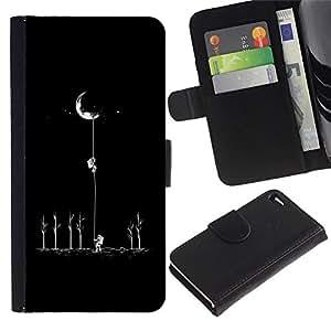 Billetera de Cuero Caso del tirón Titular de la tarjeta Carcasa Funda del zurriago para Apple Iphone 4 / 4S / Business Style Moon Astronaut Minimalist Space