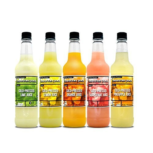 Fresh Squeezed Orange Juice - Cold Pressed Industry Juice craft bar citrus juice. 100% fresh squeezed 1 ea. Lime,Lemon,Orange,Grapefruit,Pineapple for craft cocktails direct shipped. Never heat treated.-5 PK VARIETY