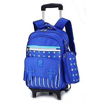 MinegRong Mochila escolar con ruedas Ruedas Kids Viajes bolsa Trolley Mochila escolar niños Niños Mochilas Chicas Chicos Mochila desmontable Escola,azul 2 ...