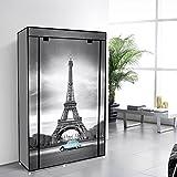 42'' Portable Clothes closet Non Woven Canvas Wardrobe Storage Orangizer 5 Shelves - Eiffel Tower